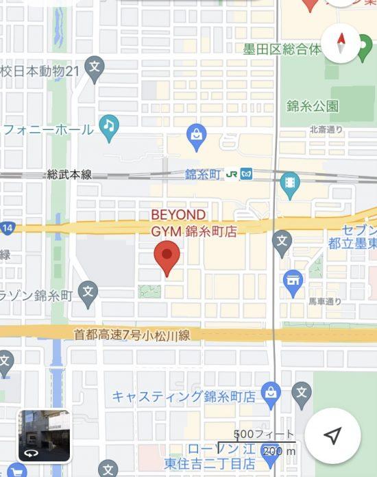錦糸町駅とBEYOND(ビヨンド)ジム 錦糸町の距離感がわかる地図